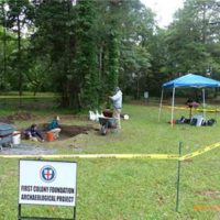 Excavating at Fort Raleigh National Historic Site in 2017.